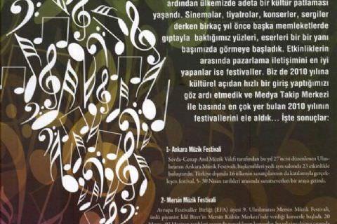 9. Mersin Uluslararası Müzik Festivali, 2010'un En Çok Konuşulan 10 Festivali Arasında 2. Sırada Yer Alıyor